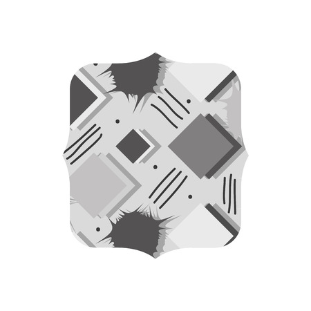 grayscale quadrate with memphis style geometric background vector illustration