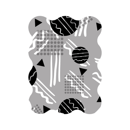 contour grayscale rectangle with graphic figure style background vector illustration