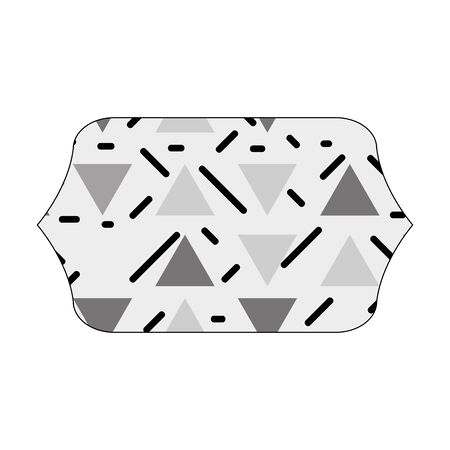 Gray scale contour rectangle with memphis abstract graphic design. Çizim