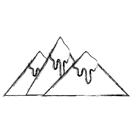figure natural mountains with snow in the tip design vector illustration Stock Illustratie
