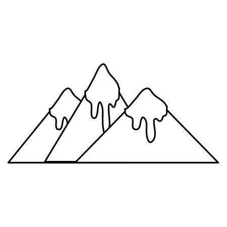 lijn natuurlijke bergen met sneeuw in de tip ontwerp vectorillustratie