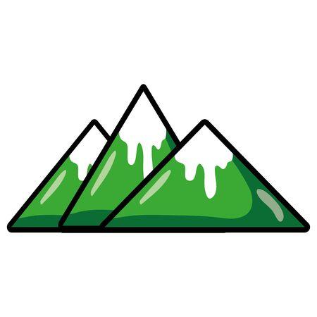 Natuurlijke bergen met sneeuw in het tipontwerp.