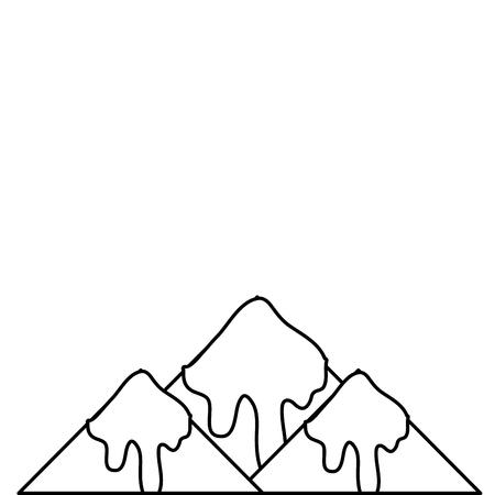 lijn natuurlijke besneeuwde berg en koud weer vector illustratie Stock Illustratie