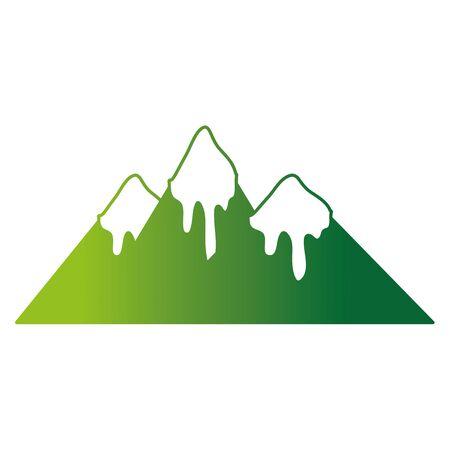 kleur lijn natuurlijke bergen met sneeuw in de tip ontwerp vectorillustratie