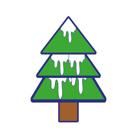 full color natural pine tree with snow design vector illustration