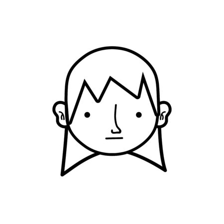 line boy head with long hair design vector illustration Illustration