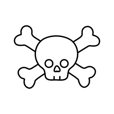 line darger skull with bones to death symbol vector illustration Illustration