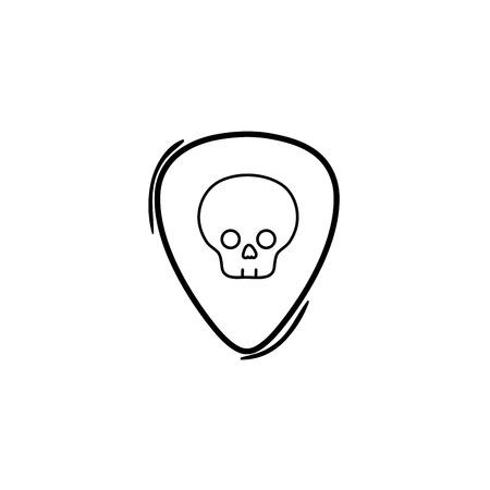 line rock emblem with skull symbol design vector illustration