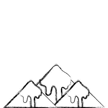 figuur natuurlijke besneeuwde berg en koud weer vector illustratie