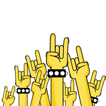 hands up with rock gesture symbol vector illustration