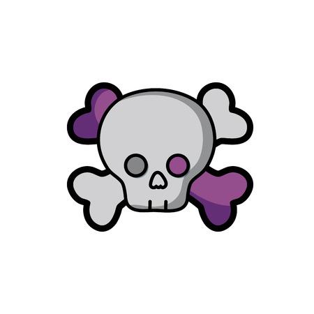 danger skull with bones to death symbol vector illustration