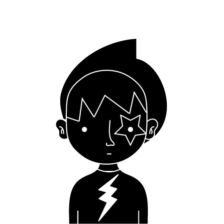 contour boy rocker with star tattoo and t-shirt vector illustration