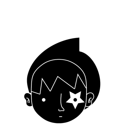contour boy head with star tattoo and turban vector illustration
