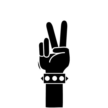 contour hand with bracelet and peace and love gesture vector illustration