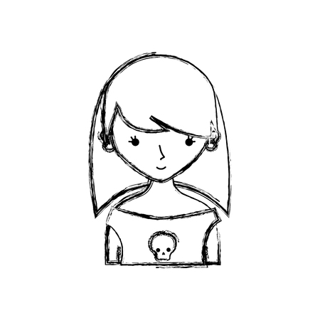 figure girl rocker with skull blouse and hairstyle vector illustration Vettoriali