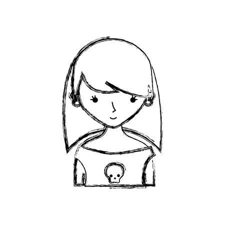 figure girl rocker with skull blouse and hairstyle vector illustration Illusztráció
