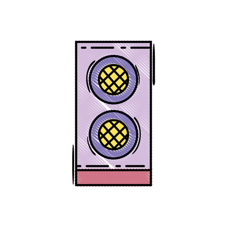 Grated speaker electronic equipment to listen to music, vector illustration 向量圖像
