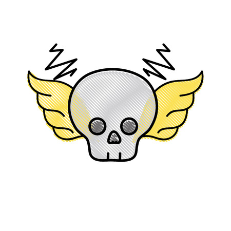 Grated skull with wings rock art symbol vector illustration