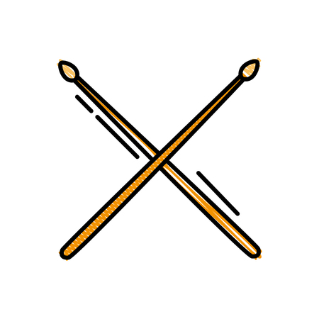 Grated drumstick object of wooden to play drum vector illustration