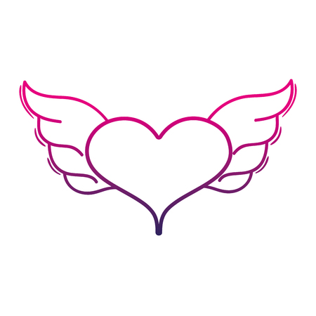 color line heart with wings symbol love art vector illustration