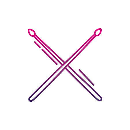 Color line drumstick object of wooden to play drum vector illustration
