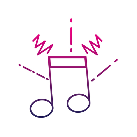 Colored musical note outline vector illustration