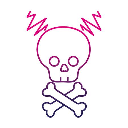 Color line skull with bones to dander symbol to death vector illustration
