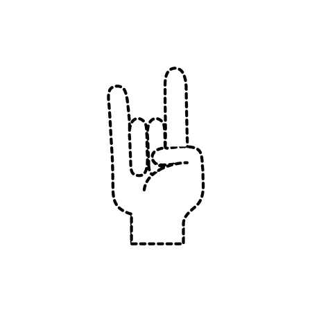 Dotted outline of hand with rock and roll sign. Illustration