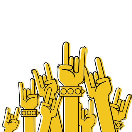 Color hands up with rock gesture symbol