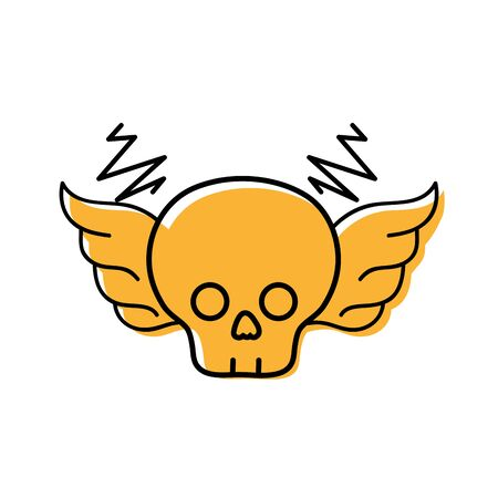 Colored skull with wings vector illustration