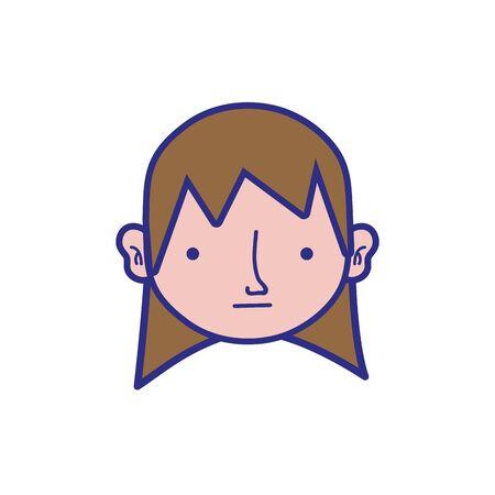Full color boy head with long hair design vector illustration