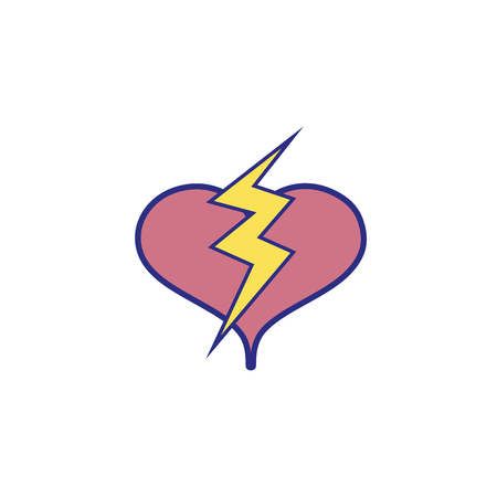 Full color heart with thunder symbol lobe design vector illustration