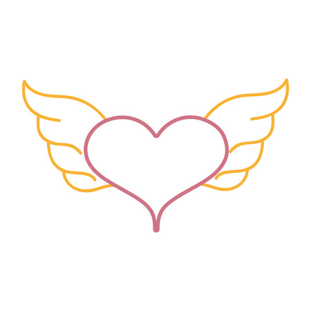 A color line heart with wings symbol love art vector illustration