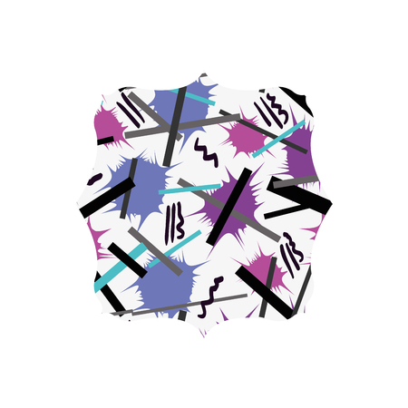 Square with abstract memphis design background
