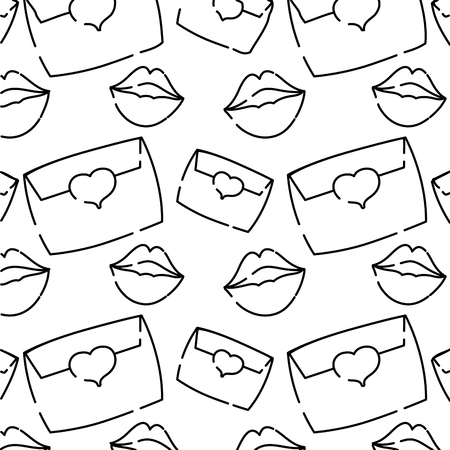 line e-mail message with lips style background vector illustration