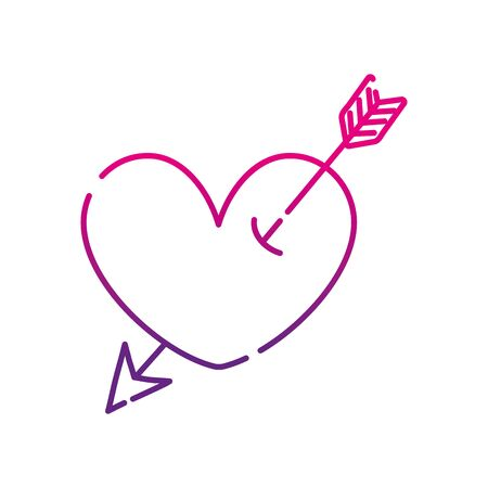 neon silhouette heart symbol of love with arrow style inside vector illustration Illustration