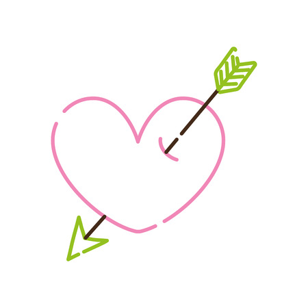 color line heart symbol of love with arrow style inside vector illustration