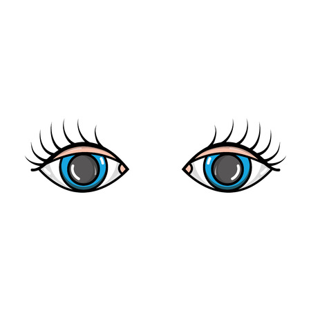 vision eyes with eyelashes style design vector illustration