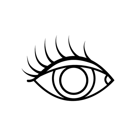 line vision eye with eyelashes style design vector illustration