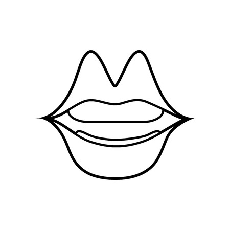 line mouth with lipstick in the lips fashion makeup vector illustration Ilustrace
