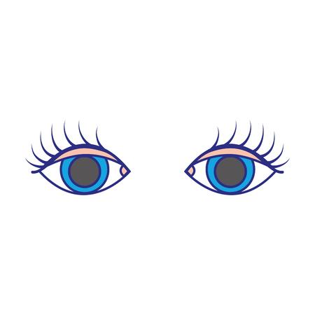 colorful vision eyes with eyelashes style design vector illustration