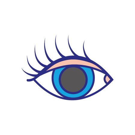 colorful vision eye with eyelashes style design vector illustration Illustration