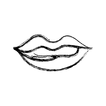 figure mouth with lipstick and bite inferior lip vector illustration
