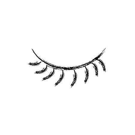 figure close vision eye with eyelashes style vector illustration Vettoriali