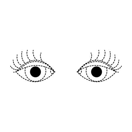 dotted shape vision eyes with eyelashes style design vector illustration