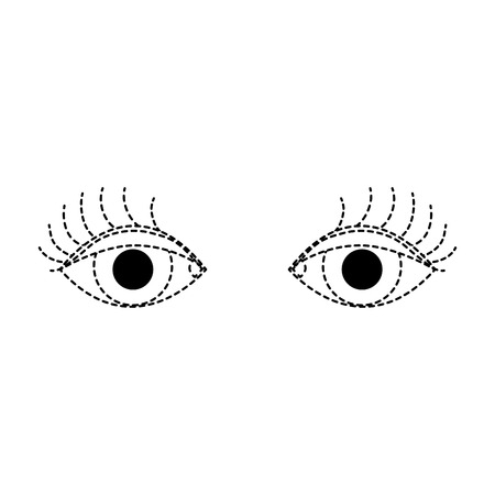 dotted shape vision eyes with eyelashes style design vector illustration