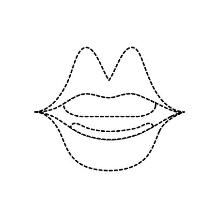 dotted, shape, mouth with lipstick in the lips fashion makeup vector illustration