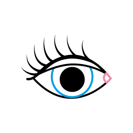 color line vision eye with eyelashes style design vector illustration