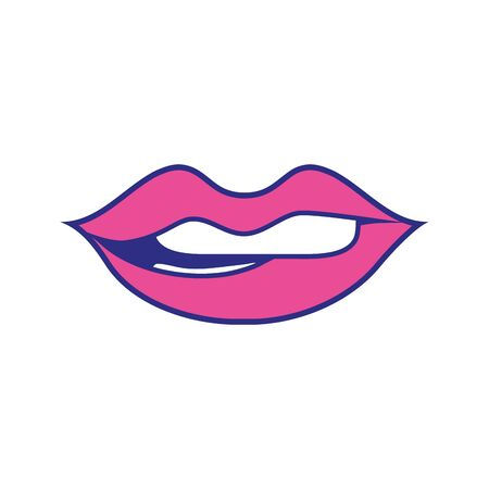 colorful mouth with lipstick and bite inferior lip vector illustration