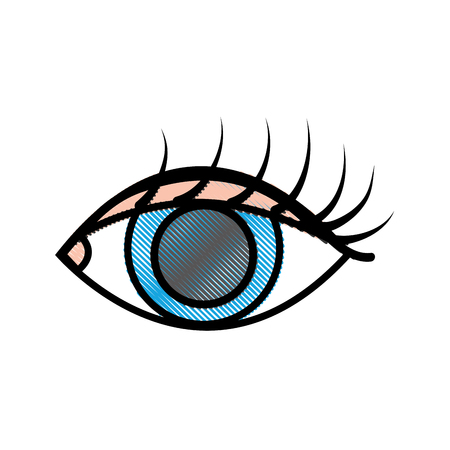 grated vision eye with eyelashes style design vector illustration